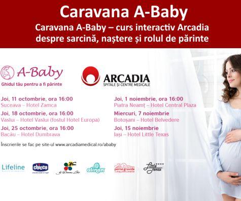 Caravana A-Baby: curs interactiv Arcadia despre sarcina, nastere si rolul de parinte
