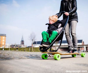 Skateboardul cu carut - o inventie pentru parinti cu spirit de aventura