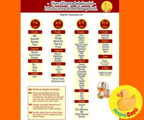 Diversificarea bebelusului: introducerea alimentelor pe luni…