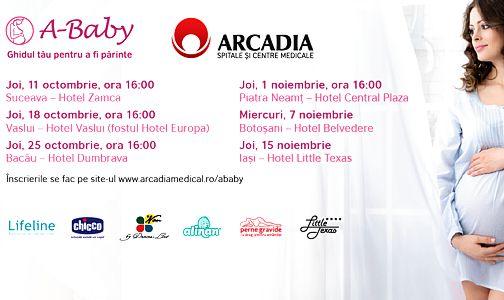 Caravana A-Baby: curs interactiv Arcadia despre sarcina, nastere si rolul de parinte width=