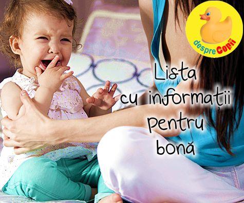 Lista cu informatii pentru bona (babysitter)