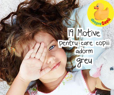 19 Motive pentru care copiii adorm greu